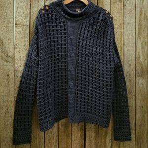 Free People navy blue fisherman knit sweater Small